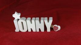 Beton, Steinguss Buchstaben 3D Deko Namen JONNY als Geschenk verpackt!