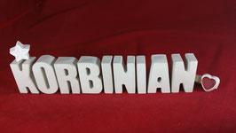 Beton, Steinguss Buchstaben 3D Deko Namen KORBINIAN als Geschenk verpackt!