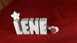Beton, Steinguss Buchstaben 3D Deko Namen LENE als Geschenk verpackt mit Stern und Herzklammer!