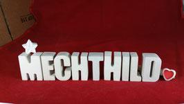 Beton, Steinguss Buchstaben 3D Deko Namen MECHTHILD als Geschenk verpackt mit Stern und Herzklammer!