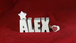 Beton, Steinguss Buchstaben 3D Deko Namen ALEX als Geschenk verpackt!