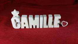 Beton, Steinguss Buchstaben 3D Deko Namen CAMILLE als Geschenk verpackt!