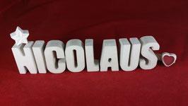 Beton, Steinguss Buchstaben 3D Deko Namen NICOLAUS als Geschenk verpackt!