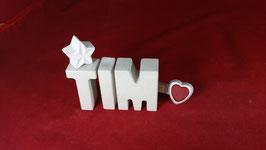 Beton, Steinguss Buchstaben 3D Deko Namen TIM als Geschenk verpackt!
