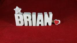Beton, Steinguss Buchstaben 3D Deko Namen BRIAN als Geschenk verpackt!