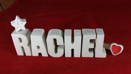 Beton, Steinguss Buchstaben 3D Deko Namen RACHEL als Geschenk verpackt mit Stern und Herzklammer!