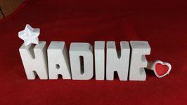 Beton, Steinguss Buchstaben 3D Deko Namen NADINE als Geschenk verpackt mit Stern und Herzklammer!