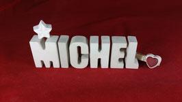 Beton, Steinguss Buchstaben 3D Deko Namen MICHEL als Geschenk verpackt!