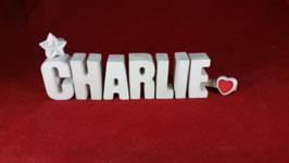 Beton, Steinguss Buchstaben 3D Deko Namen CHARLIE als Geschenk verpackt!