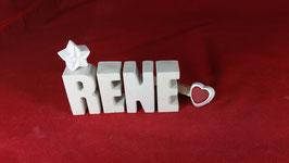 Beton, Steinguss Buchstaben 3D Deko Namen RENE als Geschenk verpackt!