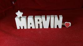 Beton, Steinguss Buchstaben 3D Deko Namen MARVIN als Geschenk verpackt!