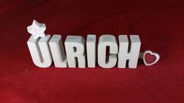 Beton, Steinguss Buchstaben 3D Deko Namen ULRICH als Geschenk verpackt!
