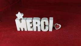 Beton, Steinguss Buchstaben 3D Deko Stern Namen MERCI als Geschenk verpackt!