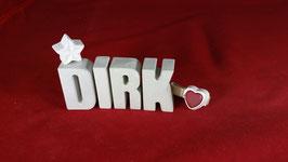 Beton, Steinguss Buchstaben 3D Deko Namen DIRK als Geschenk verpackt!