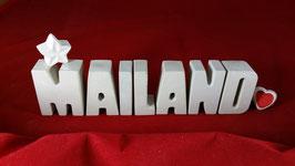 Beton, Steinguss Buchstaben 3D Deko Stern Namen MAILAND als Geschenk verpackt!