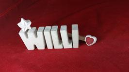 Beton, Steinguss Buchstaben 3D Deko Namen WILLI als Geschenk verpackt!