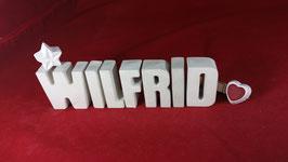 Beton, Steinguss Buchstaben 3D Deko Namen WILFRID als Geschenk verpackt!