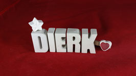 Beton, Steinguss Buchstaben 3D Deko Namen DIERK als Geschenk verpackt!