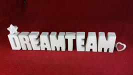 Beton, Steinguss Buchstaben 3D Deko Stern Namen DREAMTEAM als Geschenk verpackt!