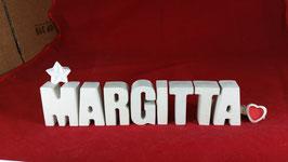 Beton, Steinguss Buchstaben 3D Deko Namen MARGITTA als Geschenk verpackt mit Stern und Herzklammer!