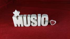 Beton, Steinguss Buchstaben 3D Deko Stern Namen MUSIC als Geschenk verpackt!