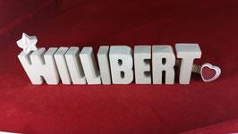 Beton, Steinguss Buchstaben 3D Deko Namen WILLIBERT als Geschenk verpackt!