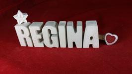 Beton, Steinguss Buchstaben 3D Deko Namen REGINA als Geschenk verpackt mit Stern und Herzklammer!