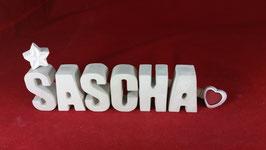 Beton, Steinguss Buchstaben 3D Deko Namen SASCHA als Geschenk verpackt!
