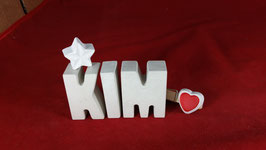 Beton, Steinguss Buchstaben 3D Deko Namen KIM als Geschenk verpackt mit Stern und Herzklammer!