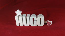Beton, Steinguss Buchstaben 3D Deko Namen HUGO als Geschenk verpackt!