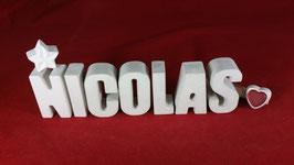 Beton, Steinguss Buchstaben 3D Deko Namen NICOLAS als Geschenk verpackt!