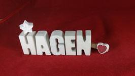 Beton, Steinguss Buchstaben 3D Deko Namen HAGEN als Geschenk verpackt!