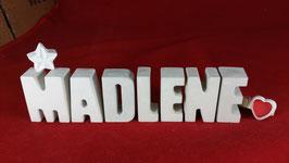 Beton, Steinguss Buchstaben 3D Deko Namen MADLENE als Geschenk verpackt mit Stern und Herzklammer!