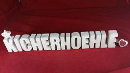 Beton, Steinguss Buchstaben 3D Deko Stern Namen KICHERHOEHLE als Geschenk verpackt!