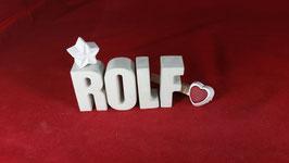 Beton, Steinguss Buchstaben 3D Deko Namen ROLF als Geschenk verpackt!