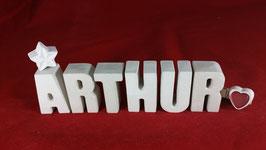 Beton, Steinguss Buchstaben 3D Deko Namen ARTHUR als Geschenk verpackt!