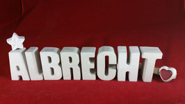 Beton, Steinguss Buchstaben 3D Deko Namen ALBRECHT als Geschenk verpackt!