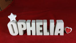 Beton, Steinguss Buchstaben 3D Deko Namen OPHELIA als Geschenk verpackt mit Stern und Herzklammer!