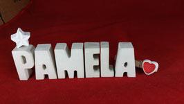 Beton, Steinguss Buchstaben 3D Deko Namen PAMELA als Geschenk verpackt mit Stern und Herzklammer!