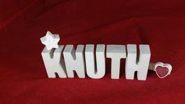 Beton, Steinguss Buchstaben 3D Deko Namen KNUTH als Geschenk verpackt!