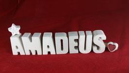 Beton, Steinguss Buchstaben 3D Deko Namen AMADEUS als Geschenk verpackt!