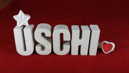 Beton, Steinguss Buchstaben 3D Deko Namen USCHI als Geschenk verpackt mit Stern und Herzklammer!