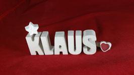 Beton, Steinguss Buchstaben 3D Deko Namen KLAUS als Geschenk verpackt!
