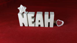 Beton, Steinguss Buchstaben 3D Deko Namen NEAH als Geschenk verpackt mit Stern und Herzklammer!