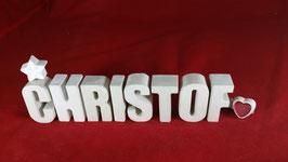 Beton, Steinguss Buchstaben 3D Deko Namen CHRISTOF als Geschenk verpackt!