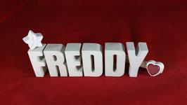 Beton, Steinguss Buchstaben 3D Deko Namen FREDDY als Geschenk verpackt!