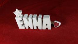 Beton, Steinguss Buchstaben 3D Deko Namen ENNA als Geschenk verpackt mit Stern und Herzklammer!
