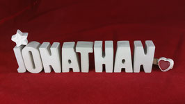 Beton, Steinguss Buchstaben 3D Deko Namen JONATHAN als Geschenk verpackt!