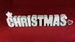 Beton, Steinguss Buchstaben 3D Deko Stern Namen CHRISTMAS als Geschenk verpackt!