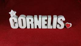 Beton, Steinguss Buchstaben 3D Deko Namen CORNELIS als Geschenk verpackt!